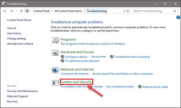 Control Panel -> Troubleshooting -> System and Security